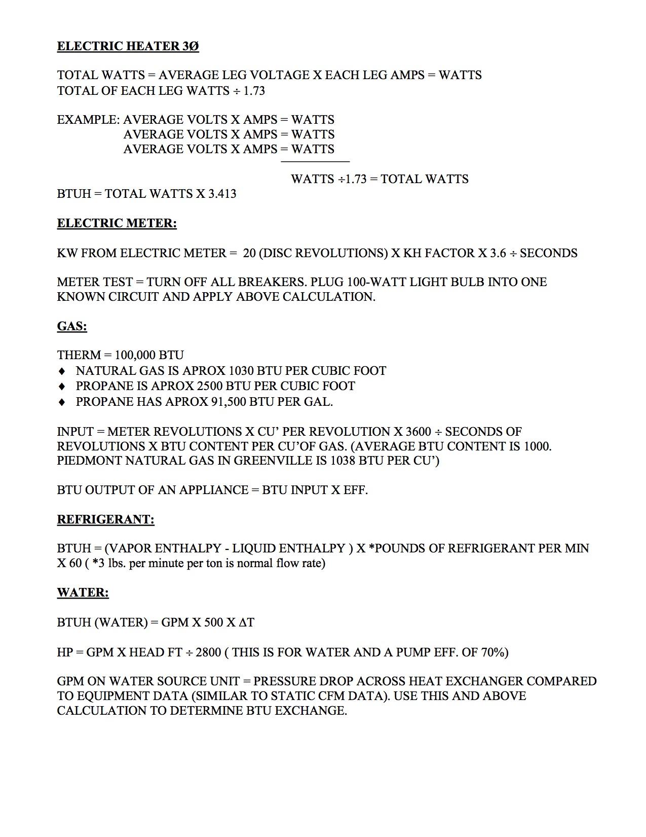 HVAC Formulas 2 - SCAHACC
